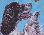 "English Springer Spaniel Original painting 8x10"" stretched canvas by L.A. Shepard"