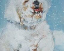 Bichon Frise art CANVAS print of  LA Shepard painting 11x14 dog art