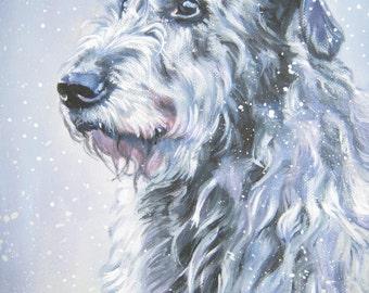 Irish Wolfhound portrait CANVAS print of LA Shepard painting 8x10 dog art