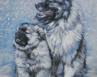 Keeshond dog art CANVAS print of LA Shepard painting 11x14