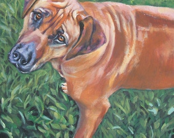 Rhodesian Ridgeback dog art portrait CANVAS print of LA Shepard painting 8x8