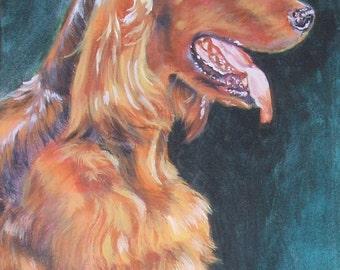 Irish Setter dog art canvas print of LA Shepard dog painting 8x10 dog portrait