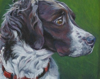 Brittany Spaniel dog art CANVAS print of LA Shepard painting 8x8 dog portrait