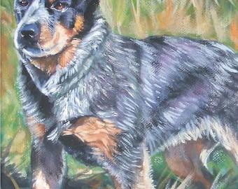 Australian Cattle Dog CANVAS art print of Blue Heeler painting by LA Shepard 8x10