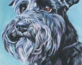 dog art Schnauzer portrait canvas print of LA Shepard painting 8x10