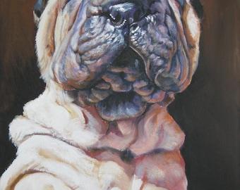 Sharp Pei dog art portrait CANVAS print of LA Shepard painting 8x10