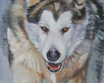 Alaskan Malamute dog art CANVAS print of LA Shepard painting 5x10 dog portrait