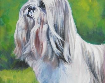lhasa apso dog art CANVAS print of LA Shepard painting 12x16