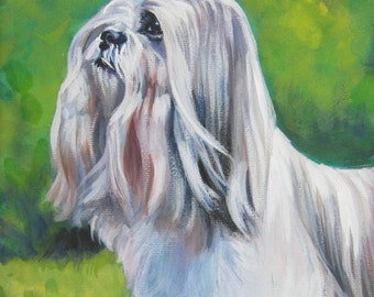 Lhasa Apso art CANVAS print of LA Shepard painting 8x10 dog portrait