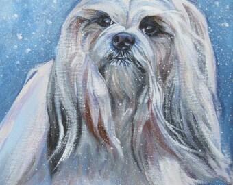 Lhasa Apso art CANVAS print of LA Shepard painting 8x8 dog portrait