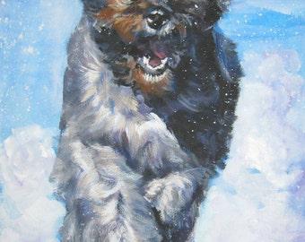Bouvier Des Flandres dog art CANVAS print of LA Shepard painting 12x16