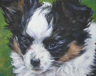 Papillon dog art portrait CANVAS print of LA Shepard painting 12x12