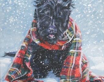 Scottish Terrier scottie art print CANVAS print of LA Shepard painting 12x12 dog art