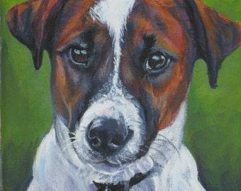 Jack Russell Terrier dog art CANVAS print of LA Shepard painting 8x8 dog portrait