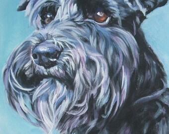 Schnauzer portrait CANVAS print of LA Shepard painting 11x14 dog art