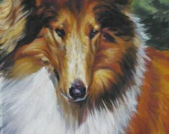 Rough Collie Dog art portrait CANVAS print of LA Shepard painting 8x10
