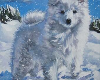 American Eskimo Dog art CANVAS print of LA Shepard painting 8x8 dog art