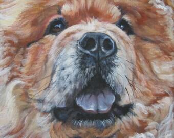 Chow Chow portrait CANVAS print of LA Shepard painting 12x12 dog art