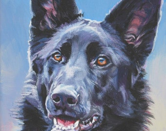 black German Shepherd dog art CANVAS print of LA Shepard painting 8x10