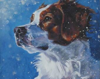 Brittany Spaniel art CANVAS print of la shepard painting 8x8 dog portrait