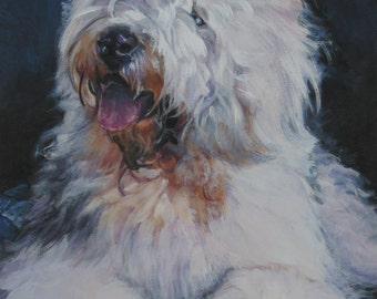 oes Old English Sheepdog portrait CANVAS print of LA Shepard painting 8x10 dog art