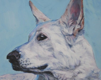 white German Shepherd dog art CANVAS print of LA Shepard painting 8x8 portrait