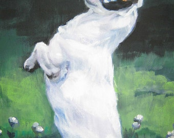 jrt Jack Russell Terrier dog art CANVAS print of LA shepard painting 12x16