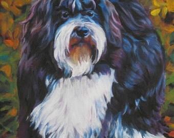 "HAVANESE havanais dog portrait art canvas PRINT of lashepard painting 8x10"""