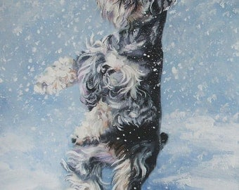 Miniature Schnauzer art CANVAS print of LA Shepard painting 8x10 dog art