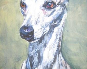 Whippet dog art CANVAS print of LA Shepard painting 12x16 portrait