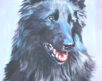 BELGIAN SHEEPDOG dog portrait art canvas PRINT of LAShepard painting 11x14""
