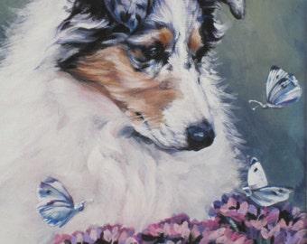 """Rough COLLIE dog art portrait canvas print of LAShepard painting 12x16"""""""