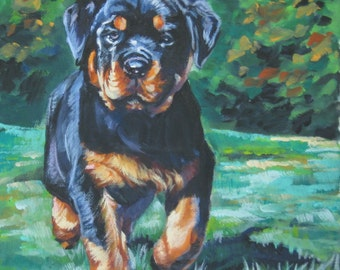 Rottweiler dog art CANVAS print of LA Shepard painting 8x8