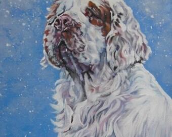 Clumber Spaniel portrait CANVAS print of LA Shepard painting 8x10 dog art