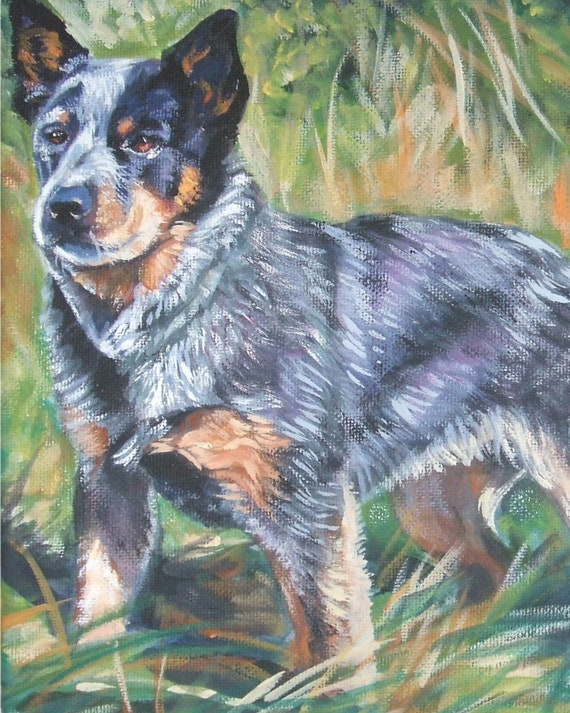 Australian Cattle Dog CANVAS art print of Blue Heeler painting by LA Shepard 8x10