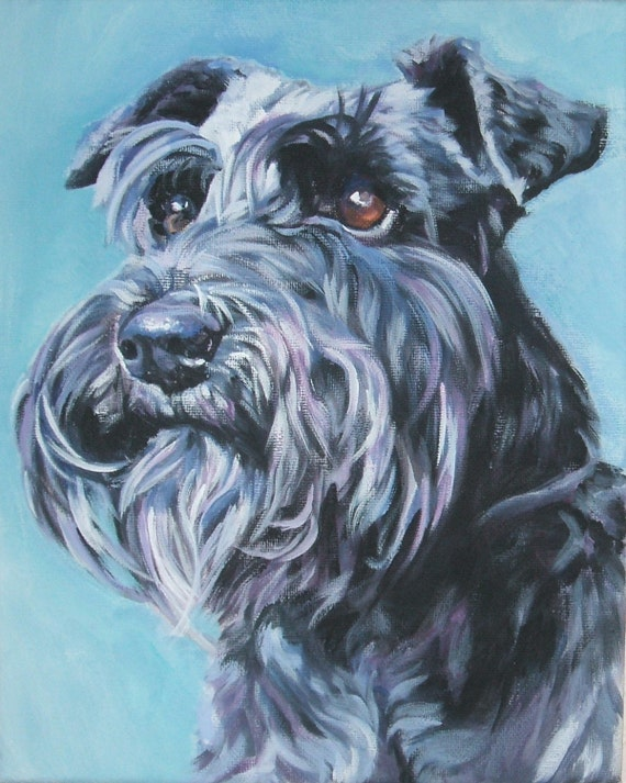 Dog art schnauzer portrait canvas print of la shepard painting for Dog painting artist
