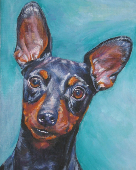 Miniature Pinscher art CANVAS print of LA Shepard painting 8x10 dog portrait