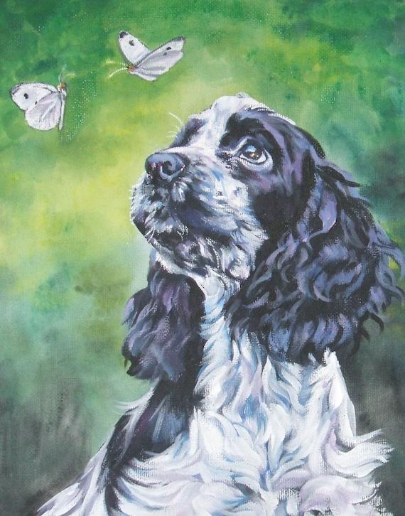 English Cocker Spaniel portrait CANVAS art print of LA Shepard painting 11x14 dog art