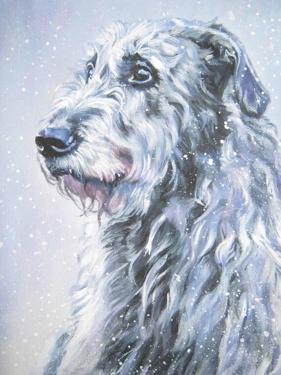 Irish Wolfhound art print CANVAS print of LA Shepard painting 12x16