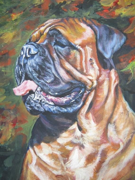 "BULLMASTIFF dog art portrait canvas PRINT of LAShepard painting 12x16"""