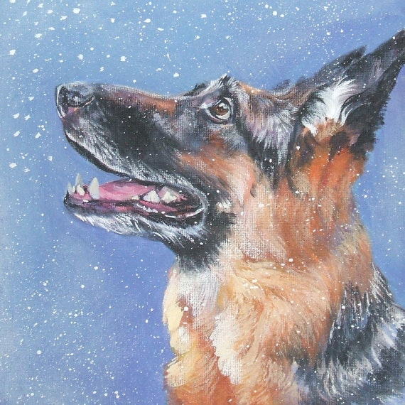 German Shepherd Dog portrait CANVAS print of LA Shepard painting 8x8 dog art