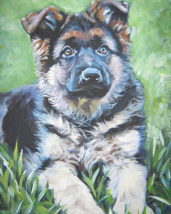 German Shepherd dog art CANVAS print of LA Shepard painting 8x10 ... German Shepherd Dog Reviews