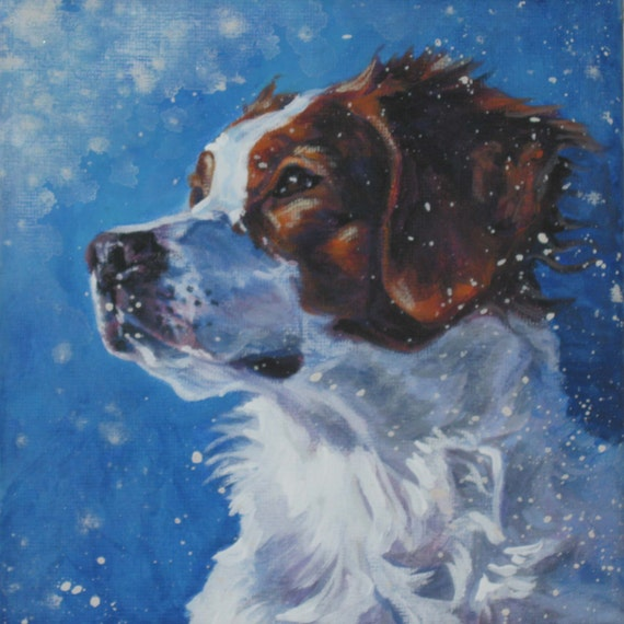 Brittany spaniel dog art portrait canvas print of la shepard for Dog painting artist