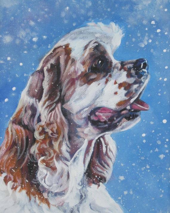 American Cocker Spaniel dog art portrait Canvas print of LA Shepard painting 8x10