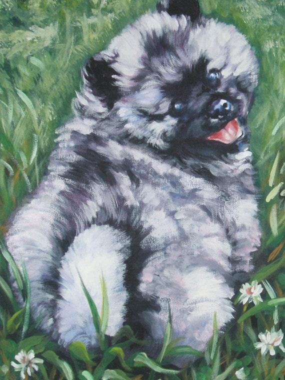 Keeshond dog art canvas print of LA SHEPARD painting 12x16