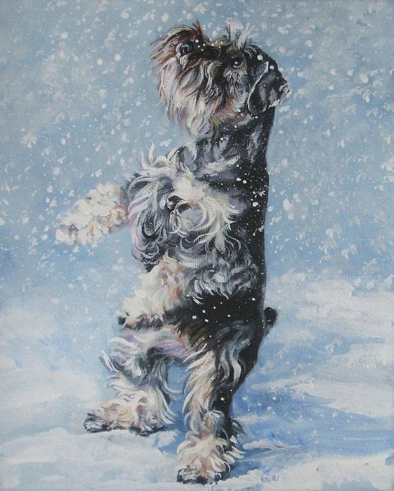 Miniature Schnauzer art CANVAS print of LA Shepard painting 8x10 dog art