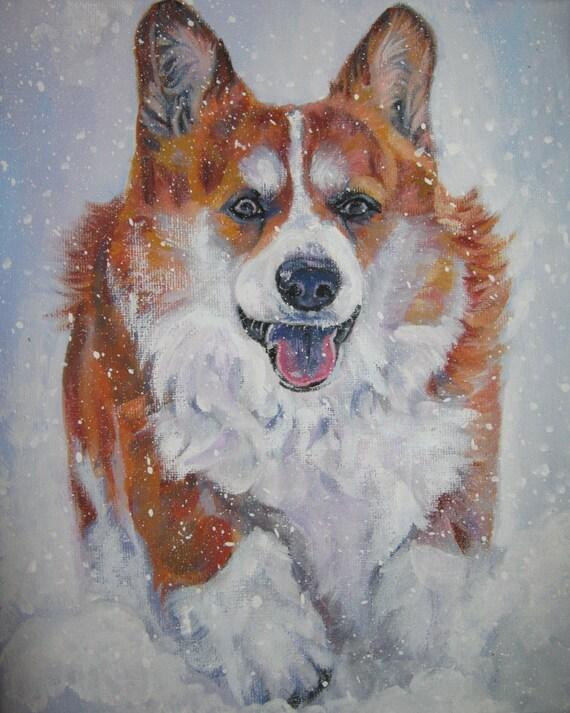 Pembroke Welsh Corgi portrait  CANVAS print of LA Shepard painting 8x10 dog art