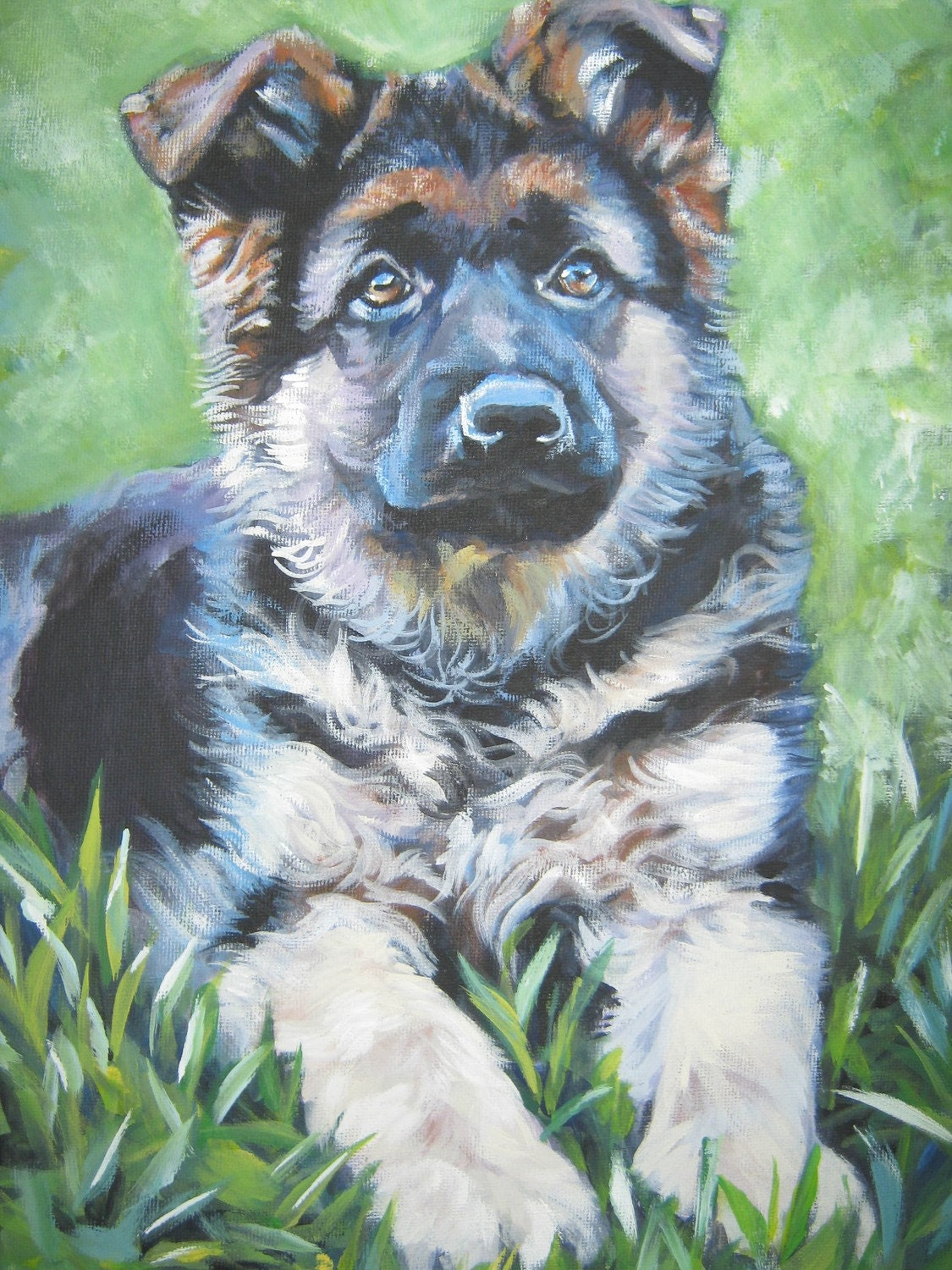 German shepherd dog art canvas print of la shepard painting for Dog painting artist