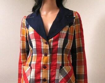 CLEARANCE Vintage Plaid Blazer Sz M - 70s Bold Orange Navy Blue Plaid Womens Jacket Size Medium Flower Buttons Free US Shipping
