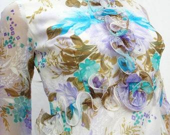 CLEARANCE Ruffled Chiffon Maxi Dress Sz S - Vintage 70s Long White Blue Purple Floral Dress Costume Free US Shipping